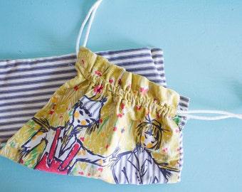 Lingerie bag, vintage travel lingerie bag, vintage laundry bag, cloth drawstring bag, drawstring pouch