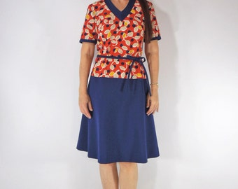 Vtg 60s/70s Belted Shift Dress in Red and Blue - med