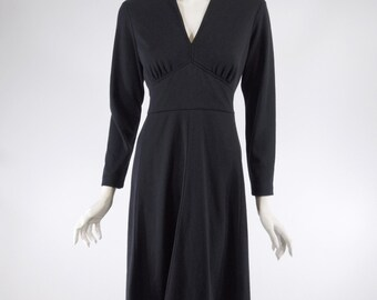 70s Black Day Dress | Defined Waist | V-Neck | Long Sleeves - sm, med