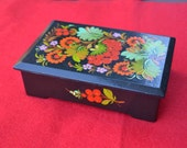 Hand painted Russian or Ukrainian Black Wooden Box, vintage KHPAIHA jewelry trinket Christmas Valentine's Day Mother's gift red berries