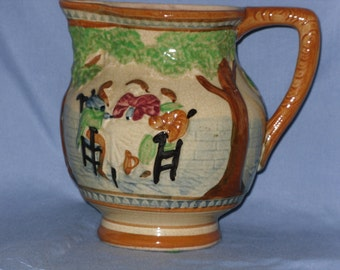 Hand Painted Pitcher Vase Rustic Country Vintage Japan
