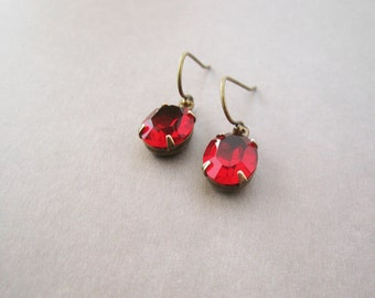 Oval Rhinestone Earrings - Ruby Red Glass - Art Deco Inspired Jewelry - Classic Style