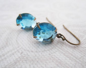 Light Blue Earrings - Simple Jewelry - Aqua Blue Rhinestone - Brass