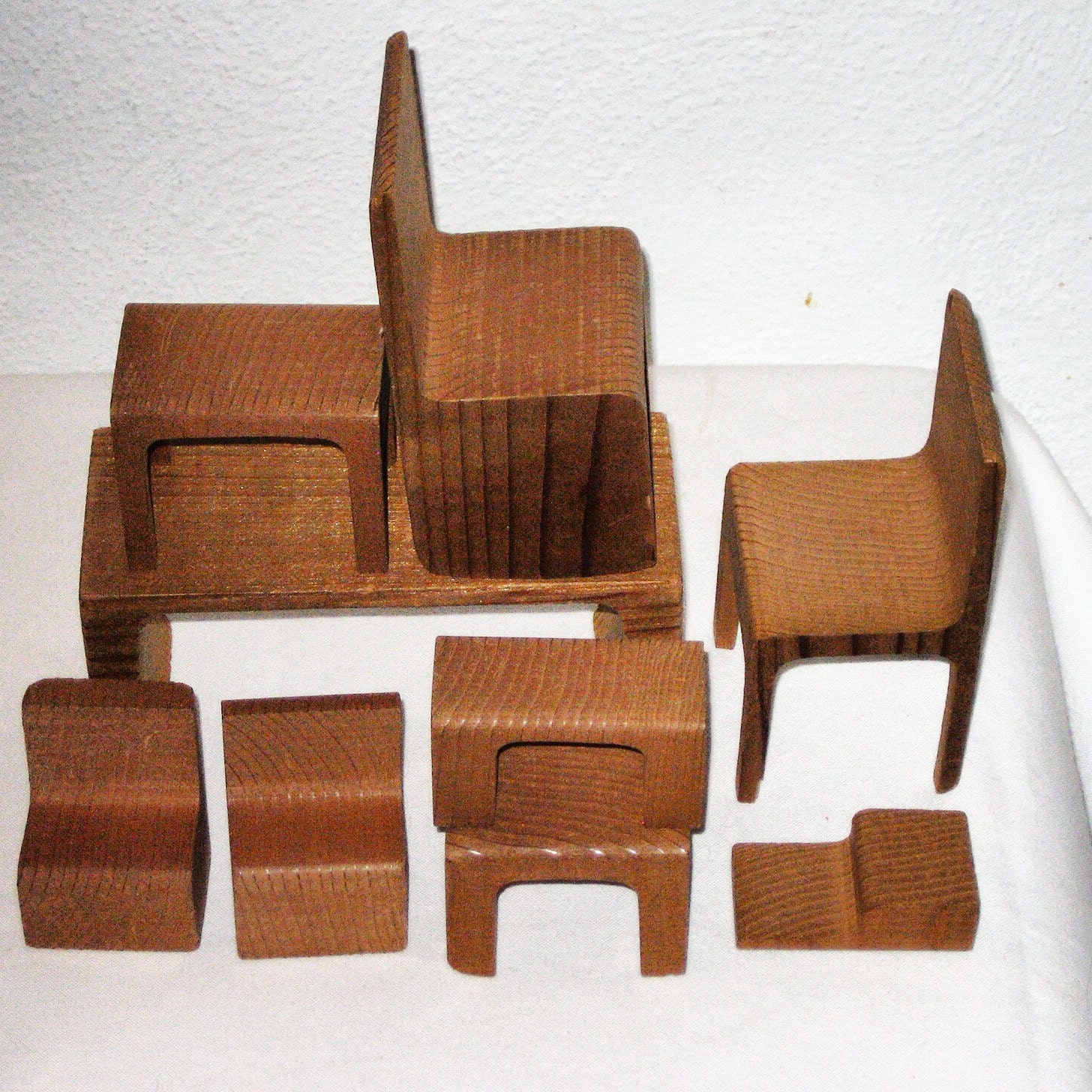 Vintage set of wood doll furniture 60s 70s modern 9 pieces for Designer chairs from the 60s