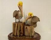 Pelicans, Hand Carved Brown Pelicans, Shorebird Carving