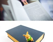 SALE! Bunny slippers bookmark. Girly legs in the book.