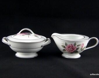 Noritake Arlington Pattern Cream and Sugar Set - Pink Rose Floral Design with Platinum Trim - Vintage 1950s Noritake China