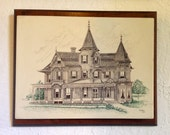 Victorian Houses Stone Lithograph Plaques Signed by R. G. Karlia, Mounted, Set of 2