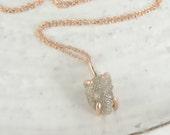 Rough Diamond 14k Rose Gold Necklace