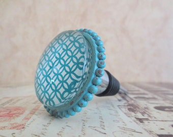 Wine Bottle Stopper - Distressed Turquoise Design
