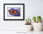 Orange Monarch Butterfly Painting ACEO Original Watercolor Matted 5x7 Art by Janet Zeh