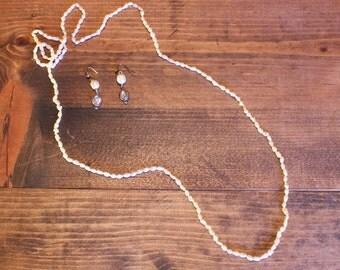 Fresh Water Pearl Necklace Purple Stone Pearl Earrings Art Nouveau Womens Costume Jewelry Vintage 1980s 80s (J1)