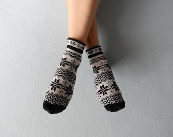 Boot Socks Women Socks Ankle Socks Snowflakes Printed Socks Ladies Socks