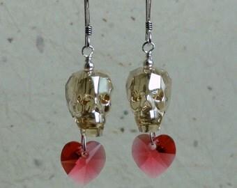 Swarovski Crystal Skull Earrings - Golden Shadow Crystal Skull with Crystal Heart Earrings