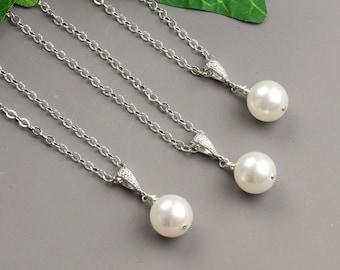 White Pearl Necklace SET OF 8 - 15% OFF Swarovski Pearl Bridesmaid Necklace Set - Bridal Necklace - Wedding Jewelry - Bridesmaid Jewelry