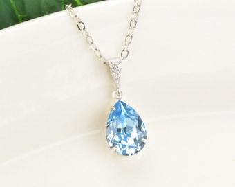 Aquamarine Necklace - Swarovski Crystal Pendant Necklace - Blue Bridesmaid Necklace - Aquamarine Crystal Teardrop Necklace - Bridal Jewelry