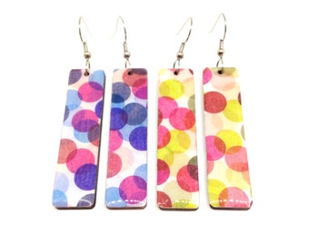 Confetti earrings, Large dots, Bright and Bold Statement, Long Dangles, Japanese MT Washi Tape, Laser Cut Wood, Resin, Lightweight