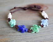 sea turtle bracelet - nautical beach jewelry - hawaiian jewelry - turtle anklet - adjustable