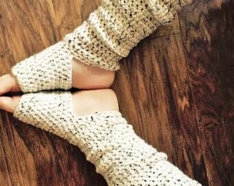 Handcrafted Extra Long Yoga Socks - Slouchy Leg Warmers - Off White Tweed - Acrylic Blend Yarn - Crocheted - Ticklebebe Original
