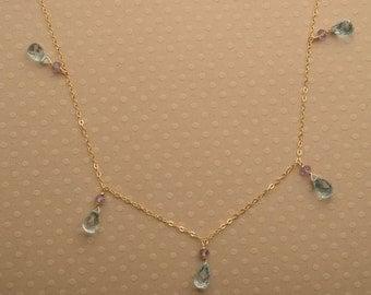 Blue Topaz Necklace, December Birthstone Necklace, Healing Gemstone Jewelry, Light Blue Gemstone Necklace,  Gemstone Gold Chain Necklace