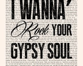 Into the Mystic Lyrics - Book Page - Van Morrison Lyrics Poster -- Typographic poster print, musician wall art gift