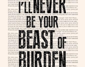 BEAST OF BURDEN Book Page -- The Rolling Stones Lyrics Poster print, studio wall art, distressed typography print