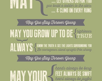Forever Young Lyrics - Bob Dylan Poster -- great nursery, baby shower gift, typography print, wall art