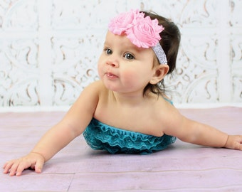 Silver Glitter Headband with Cotton Candy Pink Flowers -  Baby Infant Toddlers Girls Women - Cake Smash