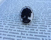 CLEARANCE! Black On White Lady Skull Lolita Cameo Ring - Brass (Adjustable)