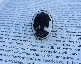 SALE! Black On White Lady Skull Lolita Cameo Ring - Brass (Adjustable)