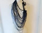 Crochet Leather & Silk Fiber / Thread Chain Necklace (Navy Blue/Dark Green)