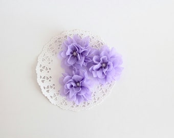 "3 pcs - Lilac Crepe flowers - Frayed Flower - Fabric Flower - 2 3/8"" Flowers"
