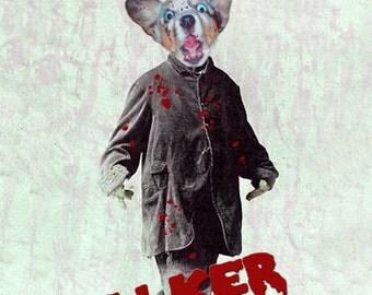 Walker, Zombie Dog Print, Anthropomorphic, Strange Art,  Quirky Art, Unique Art, Steam Punk Art, Photo Collage Whimsical, Unusual Gift Idea