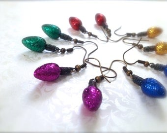 Glitter Christmas Lights Dangle Earrings. You Choose. Blue. Red. Yellow. Green. Christmas. Gift. Holiday. Festive. Under 10 Dollar. Sale.