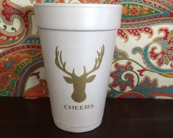 Custom Styrofoam Cups, CHEERS deer cups
