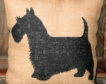 Hand Painted Scottish Terrier on Burlap pillow cover