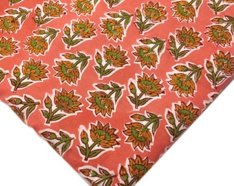 Peach and Olive Green Printed Cotton - Soft Cotton Fabric - Indian Fabric by Yard