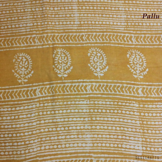 Vegetable Dyed HandBlock Printed Sari / Saree - Supply for Scarf / Stole / Sarong / Curtains Dresses