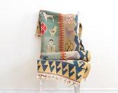 R E S E R V E D . . . Vintage Handwoven Wool Kilim Rug Mythological Pattern - Mid Century