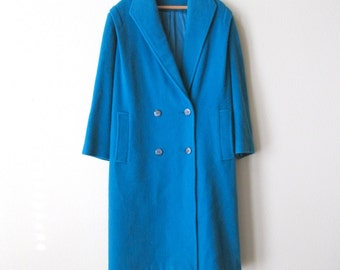 1960s Turquoise Wool Vintage Long Coat