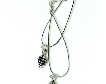 long dangle silver pine cone earrings | rustic fall winter earrings |shoulder dusters | long silver hoop earrings | handmade by girlthree