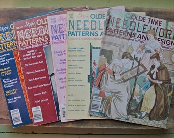 Set of 5 Vintage Olde Time Needlework Patterns And Designs / Exquisite Designs & Patterns out of the Glorious Past / Crafters Magazine