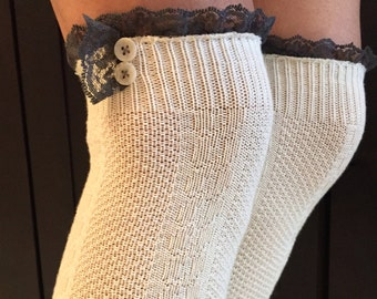 Cream Boot Socks with Grey Lace & Buttons - Over the Knee Knit Cotton Socks