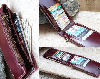 All for One purple genuine cow leather wallet/ fit perfectly for US dollar bill/ iPhone6/ iPhone 5/ iPhone4
