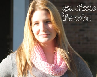 Personalized Solid Fall Winter Infinity Scarf Cowl Neckwarmer Crochet- Light Pink - Made To Order