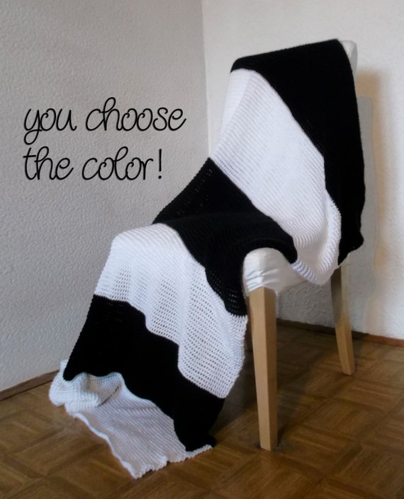 Personalized Striped Modern Afghan Throw Blanket - Wide Black and White Stripes - Made To Order