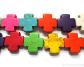 Colorful Gemstone Beads Abstract Chunky Crosses 14mm Assorted Bright Colors - 12 pc