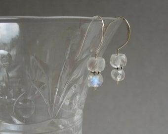 Modern Gemstone Earrings: Rainbow Moonstones, Bali Sterling Silver, Mother's Day Gift, Graduation Gift
