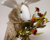 Rabbit, Prairie Rabbit Doll, Soft Sculpture Bunny, Primitive Hare, Folk Art Rabbit - Made To Order