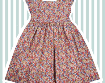 Girl's Liberty Print Party Dress for Baby to 10 years